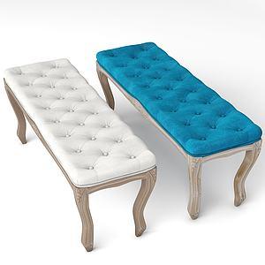 美式休閑面包長凳3d模型