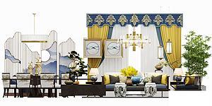 中式经典客餐厅模型3d模型