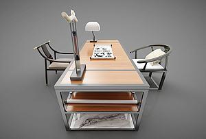 新中式風格辦公桌模型3d模型