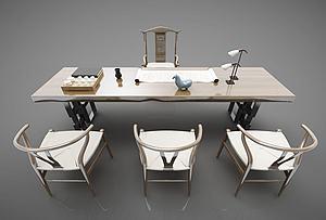 新中式風格餐桌模型3d模型