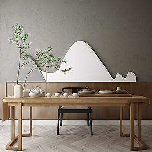 中式經典茶桌3d模型