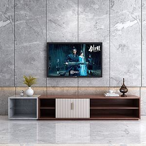現代簡約實木石材電視柜3d模型