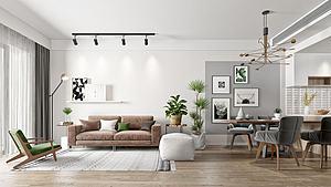 北歐客廳沙發餐模型3d模型