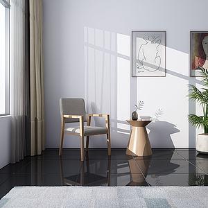 現代書椅休閑椅3d模型
