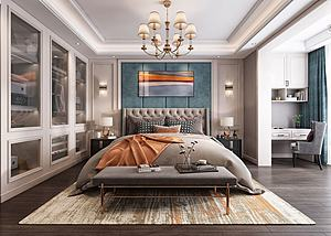 簡美式臥室模型3d模型