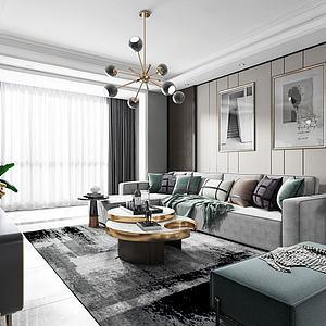 現代輕奢客廳3d模型