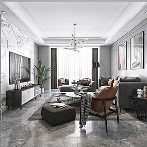 現代黑白灰客廳3d模型