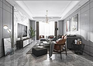 現代黑白灰客廳模型3d模型
