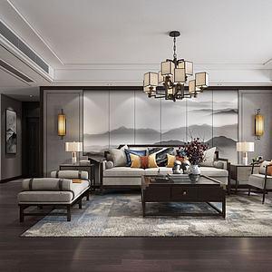 客厅新中式3d模型