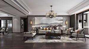 客廳新中式模型3d模型