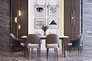 現代輕奢餐桌椅組合模型3d模型