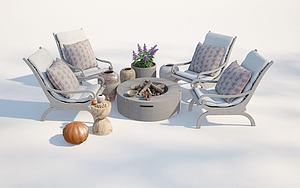 現代戶外庭院模型3d模型
