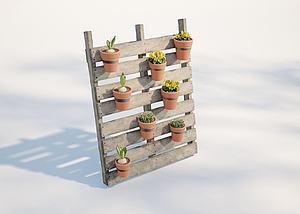 现代户外植物盆栽模型3d模型