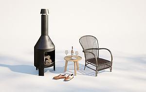 現代戶外庭院休閑椅模型3d模型