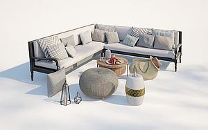 現代戶外庭院休閑沙發模型3d模型
