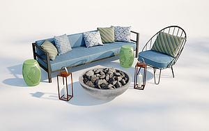 現代沙發椅子火炕組合模型3d模型