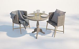 現代戶外藤編椅子模型3d模型