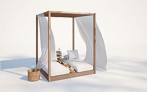 現代戶外沙灘椅模型3d模型