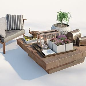 現代戶外沙發茶幾3d模型