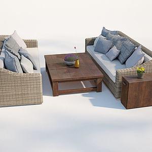 現代戶外庭院藤編沙發3d模型