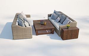 現代戶外庭院藤編沙發模型3d模型