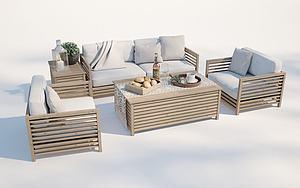 現代戶外沙發茶幾模型3d模型