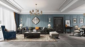 簡美式客廳模型3d模型