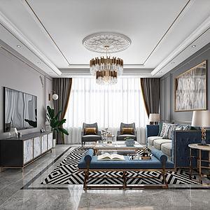 现代轻奢黑白灰客厅3d模型