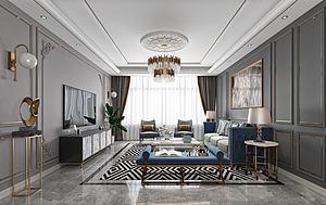 現代輕奢黑白灰客廳模型3d模型