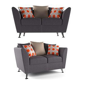 現代小雙人沙發3d模型