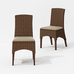 現代竹編休閑卡其色單椅3d模型