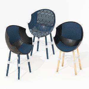 現代蛋殼休閑椅3d模型