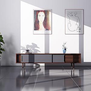現代全木電視柜3d模型