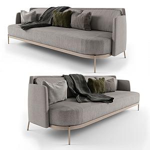 北歐極簡休閑多人沙發披巾3d模型
