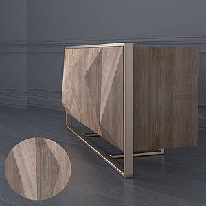 現代凹凸邊柜電視柜3d模型