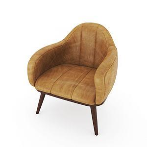 現代歐式休閑單椅3d模型