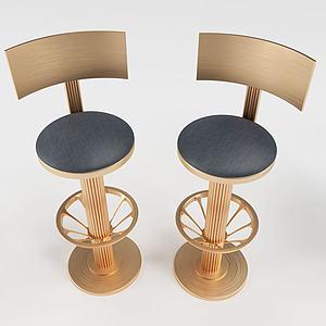 現代金屬質感吧椅3d模型