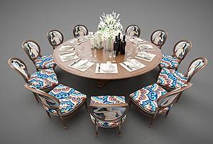 中式圓形餐桌模型3d模型