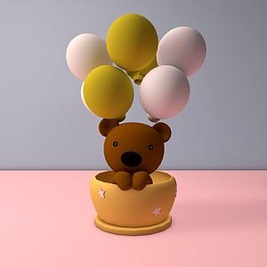 C4D氣球熊模型