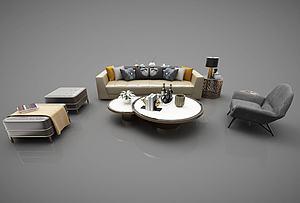 現代風格沙發茶幾模型3d模型