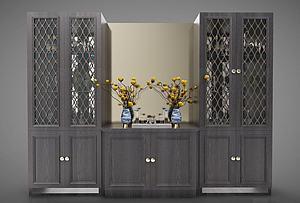 中式酒柜裝飾柜模型3d模型