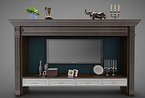 現代電視背景墻模型3d模型