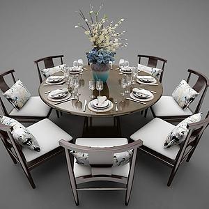 飯店圓形餐桌3d模型