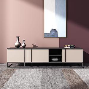 現代輕奢電視柜飾品3d模型
