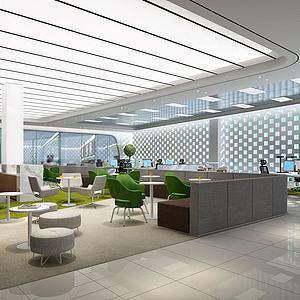 現代辦公室休息區接待區3d模型