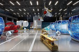 工業風飛機航天展廳展館模型3d模型