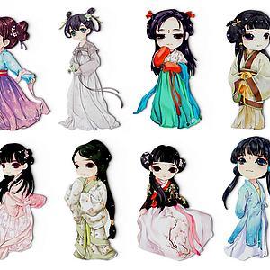 中式古裝人物服飾剪紙墻飾3d模型