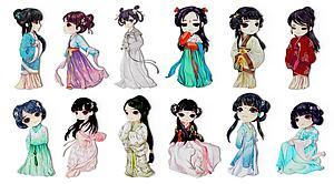 中式古裝人物服飾剪紙墻飾模型3d模型