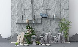 園林景觀假山背景模型3d模型