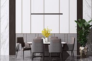 現代餐桌椅餐廳模型3d模型